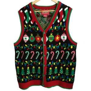 Ugly Christmas Multicolored Vest, size XL